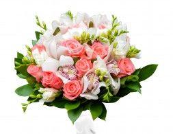 Fonds D Ecran Bouquets Rosiers Orchidees Freesia Fond Blanc Fleurs Fleurs Fond Ecran Orchidee