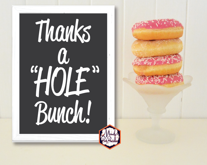 Donut Coloring Pages And Party Sign Thanks A Hole Bunch 8x10