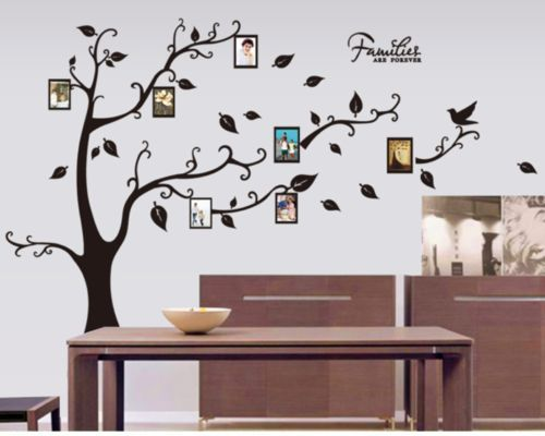 details zu w170d baum wandaufkleber wandsticker dekoration wandtattoo bilderrahmen fotos. Black Bedroom Furniture Sets. Home Design Ideas