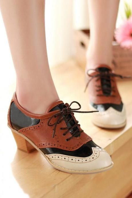 Womens Lace Up Oxfords Black Plus Size Girls Flats Cuban Heels College Shoes New