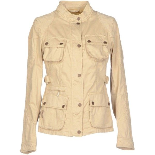 Brema Jacket 220 Brl Liked On Polyvore Featuring Outerwear Jackets Beige Cotton Zip Jacket Multi Pocket Jacket Cotton Jacket Long Sleeve Jacket A Jaket