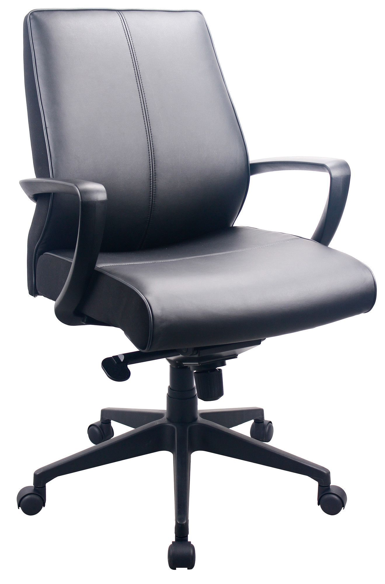 Mid Back Leather Executive Office Chair With Arms