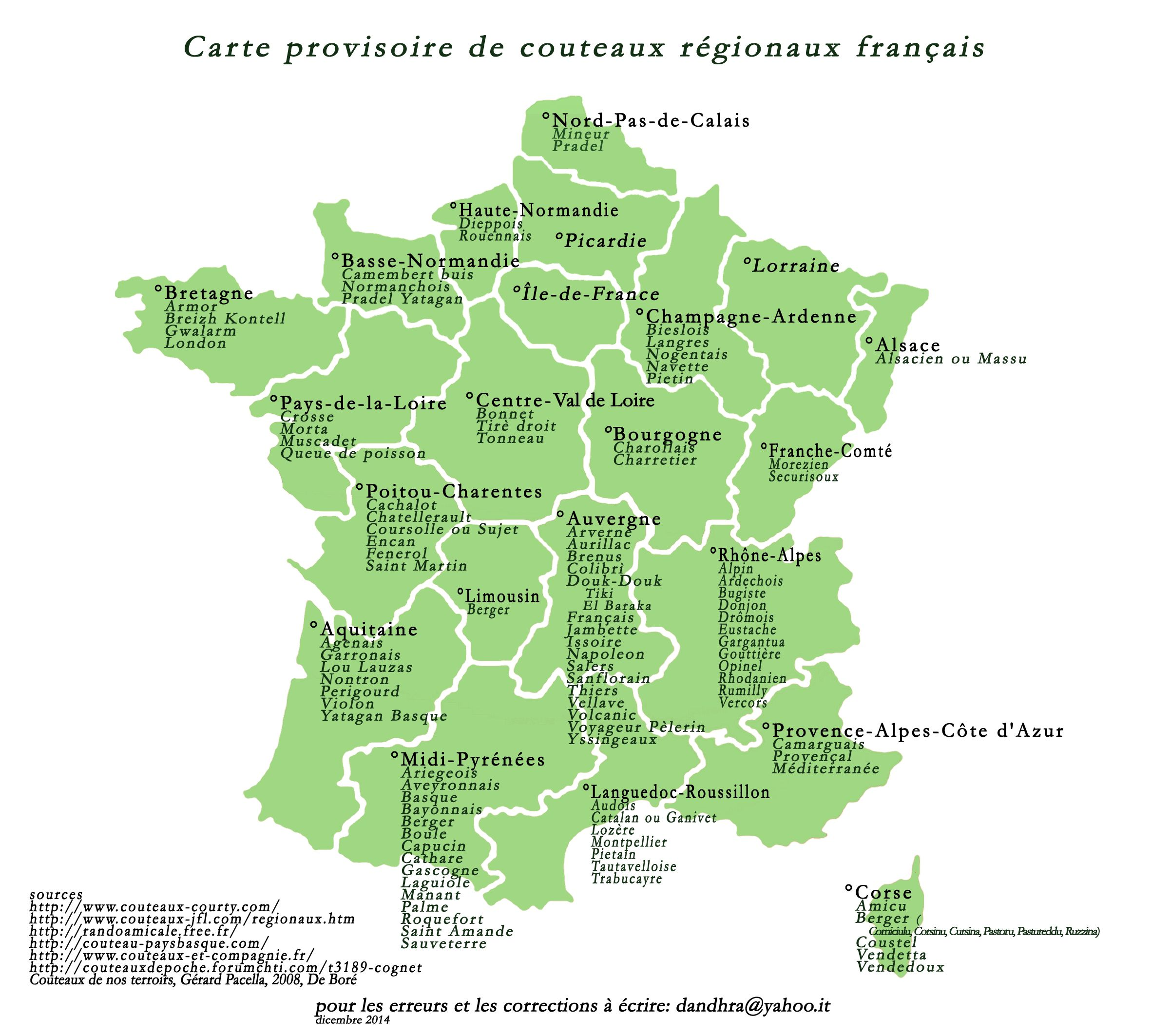 Carte Provisoire De Couteaux Regionaux Francais Pour Les Erreurs