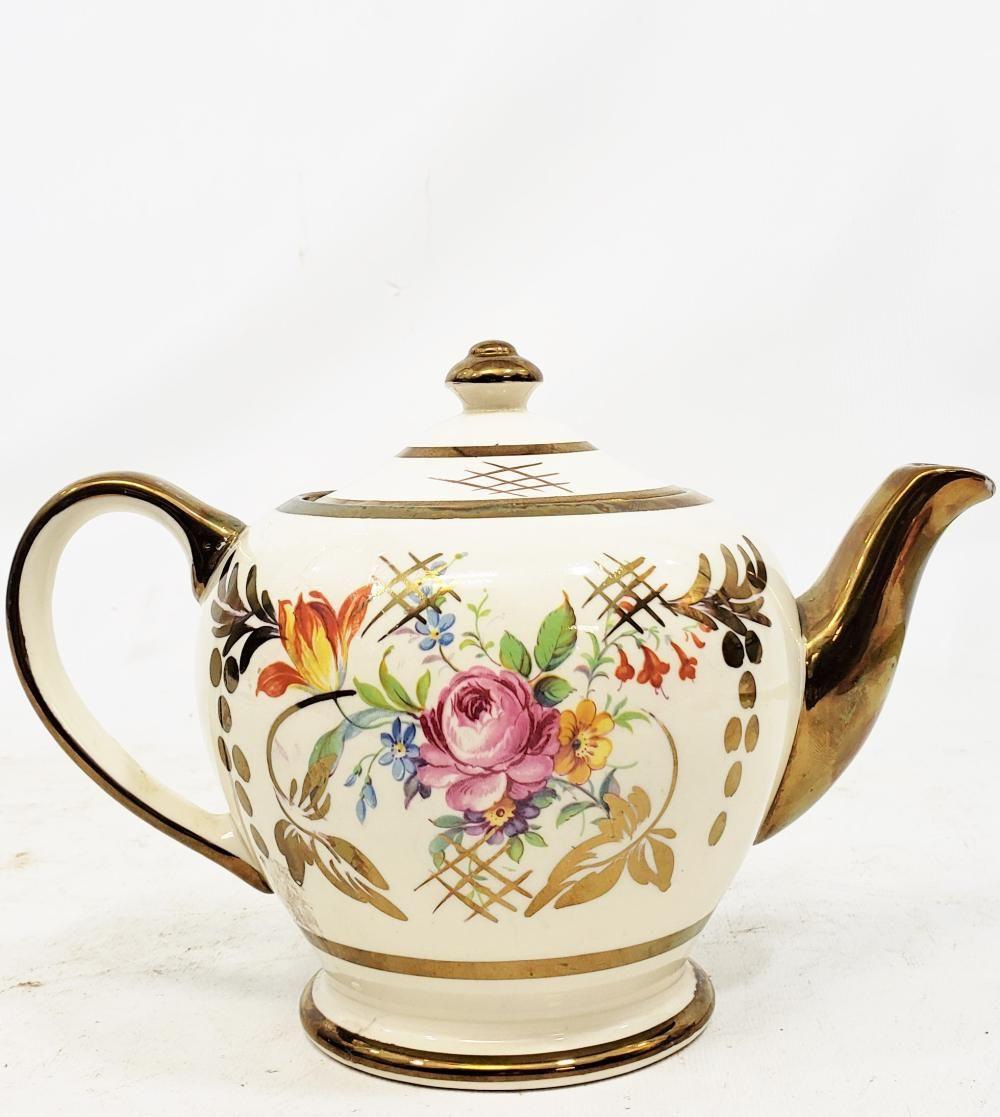 Vintage Ivory And Gold Sadler Teapot With Red Flower Gilt