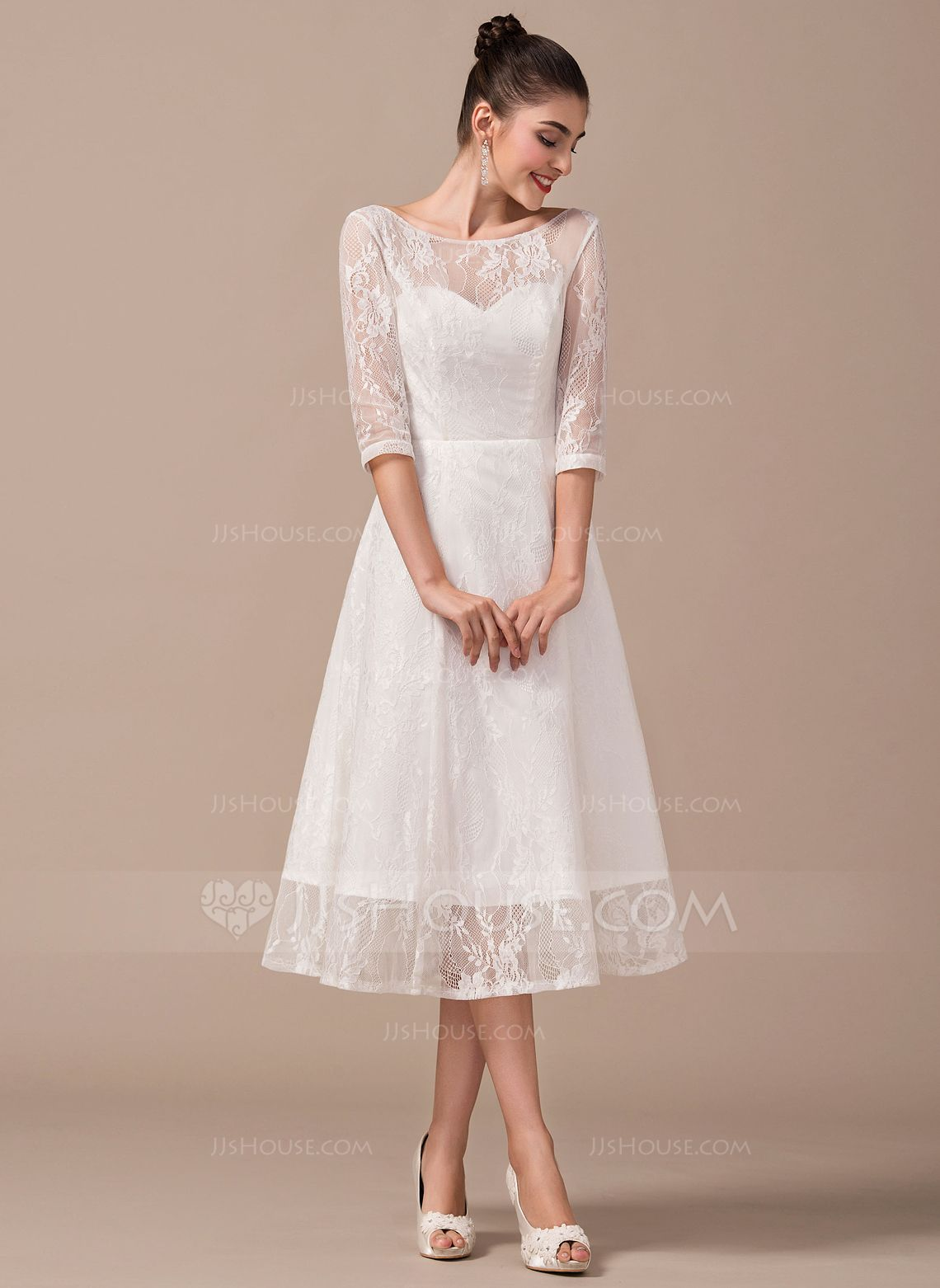 186c7b948814 A-Line/Princess Scoop Neck Tea-Length Zipper Up Sleeves 3/4 Sleeves Beach  Hall Reception General Plus No Winter Spring Summer Fall Ivory Lace Wedding  Dress