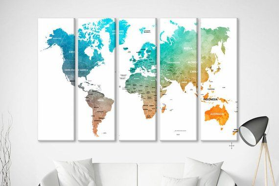 Large Canvas Map Of The World.Pushpin Travel Map Pastel Map With Pins Detailed World Map Large