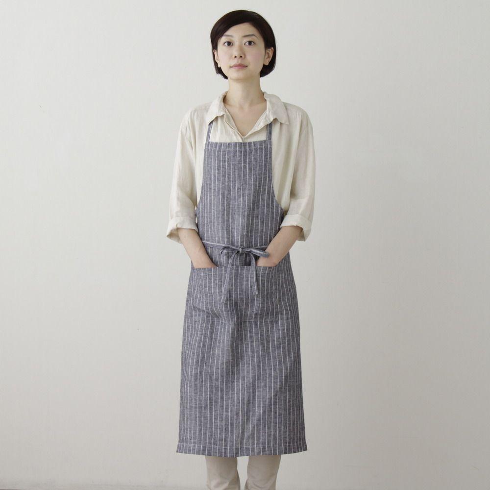 White apron in store - From The Pentper General Store Fog Linen Work Full Apron Navy White Stripe