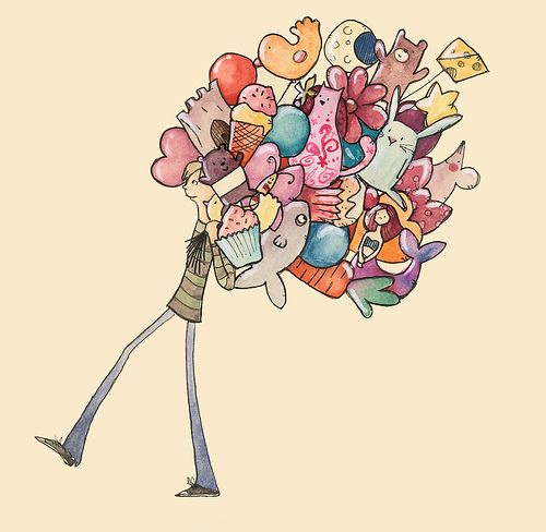 Balloon man goes to work by emma block, via Flickr