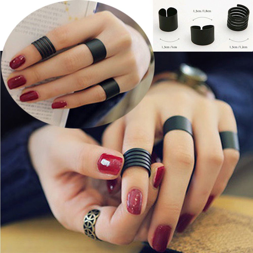 3pcs/set Wholesale Mix lots Urban Black Plain Korean Ring Sets Fashion Jewelry