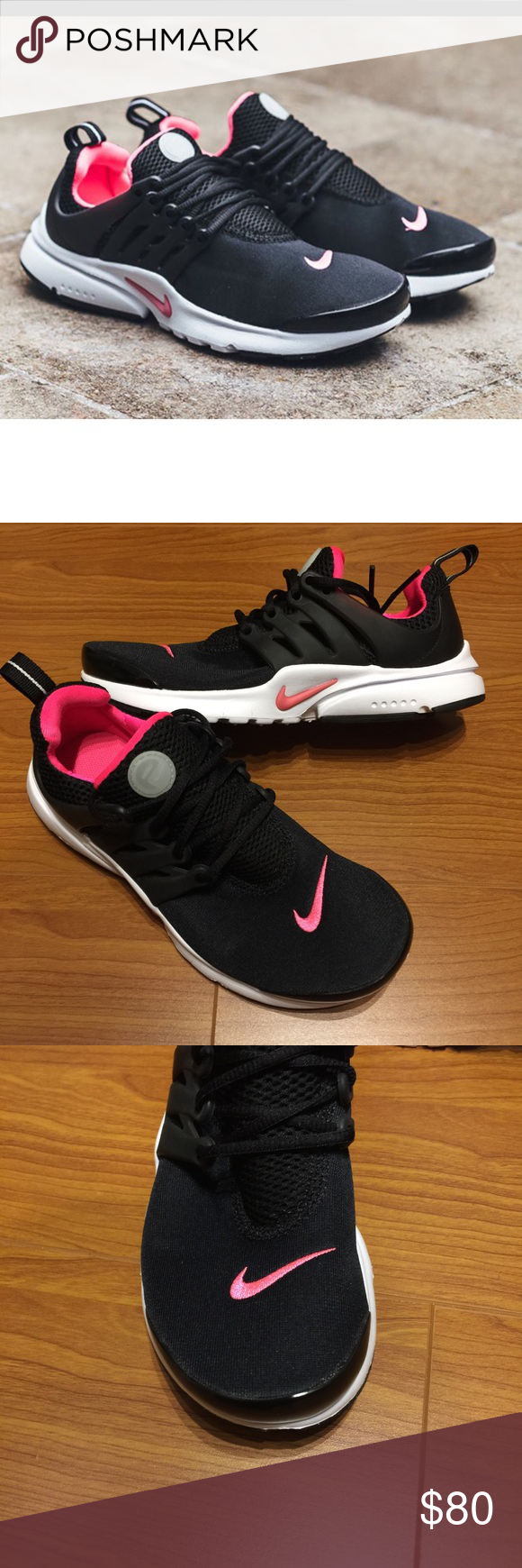 size 40 03545 010a7 New NIKE blk pink Presto GS ~ various sizes brand new no lid size 4Y fits  women s 6   size 6Y fits women s 8 black hyper pink white comes from smoke  free ...