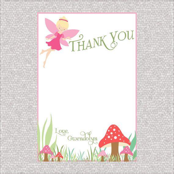 Custom Fairy Birthday Thank You Cards Pixie By Aprettylittleparty 6 00 Birthday Thank You Cards Fairy Party Supplies Fairy Birthday