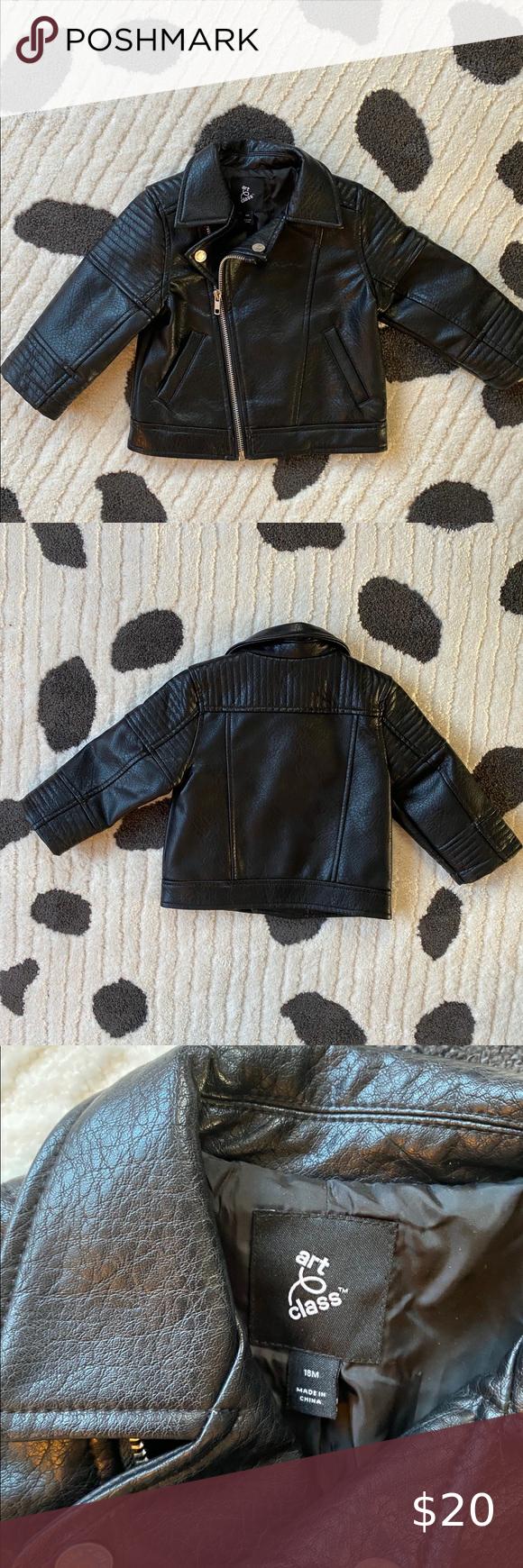 18 Month Leather Jacket Punk Baby Toddler Coat Toddler Coat Faux Leather Biker Jacket Black Faux Leather Jacket