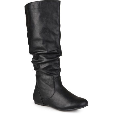 Brinley Co. Womens Wide Calf Slouchy Round Toe Boots, Women's, Size: 7, Black