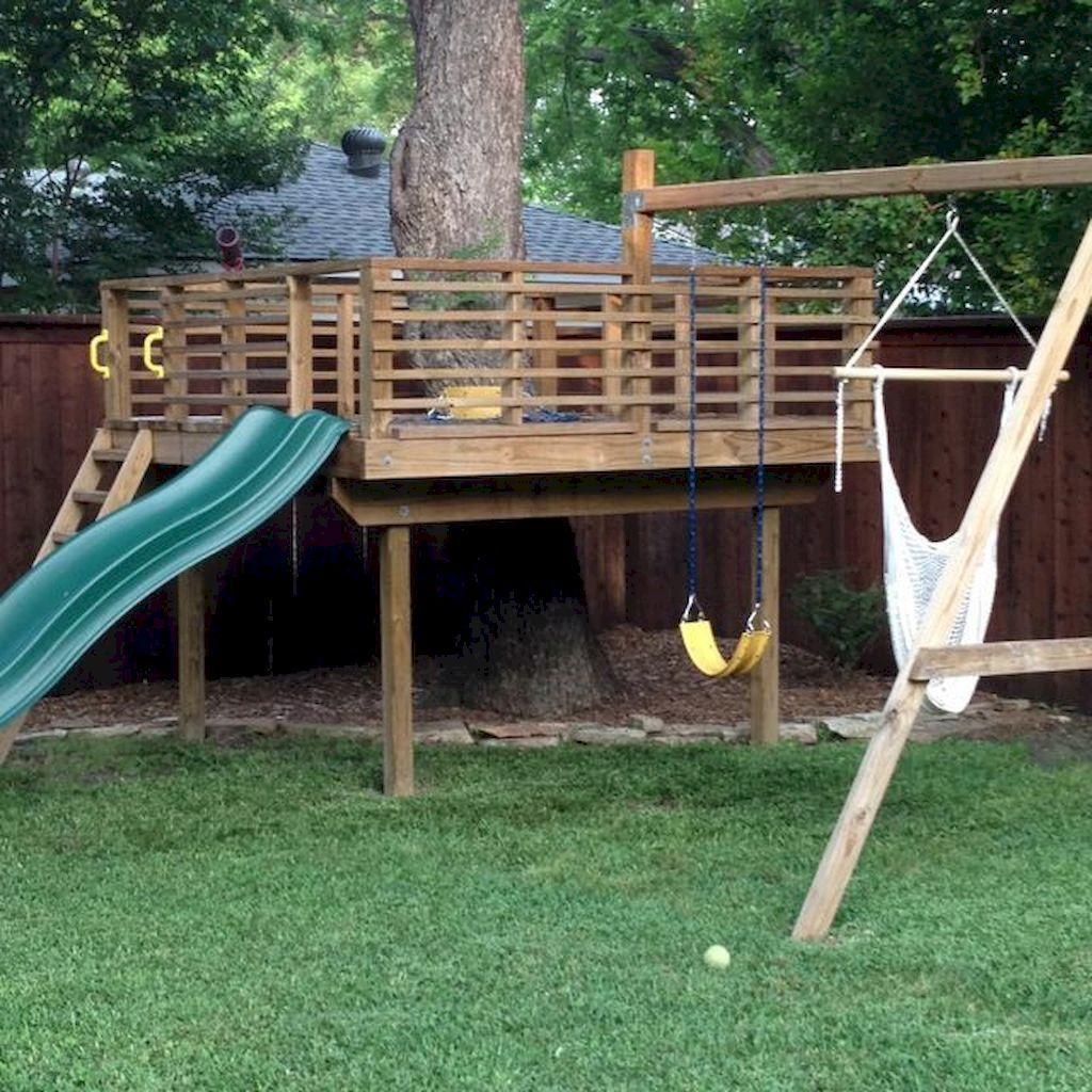 01 Awesome Small Backyard Playground Landscaping Ideas Setyouroom Com Tree House Swing Set Tree House Diy Backyard For Kids