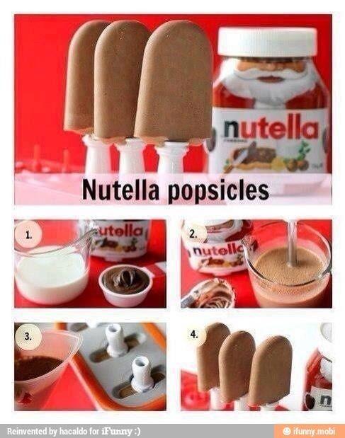 Nutella Popsicles: 1becher sahne,2EL nutella,sahne schlagen,nutella in mikrowelle bis flüssig,nutella unter sahne heben-fertig!