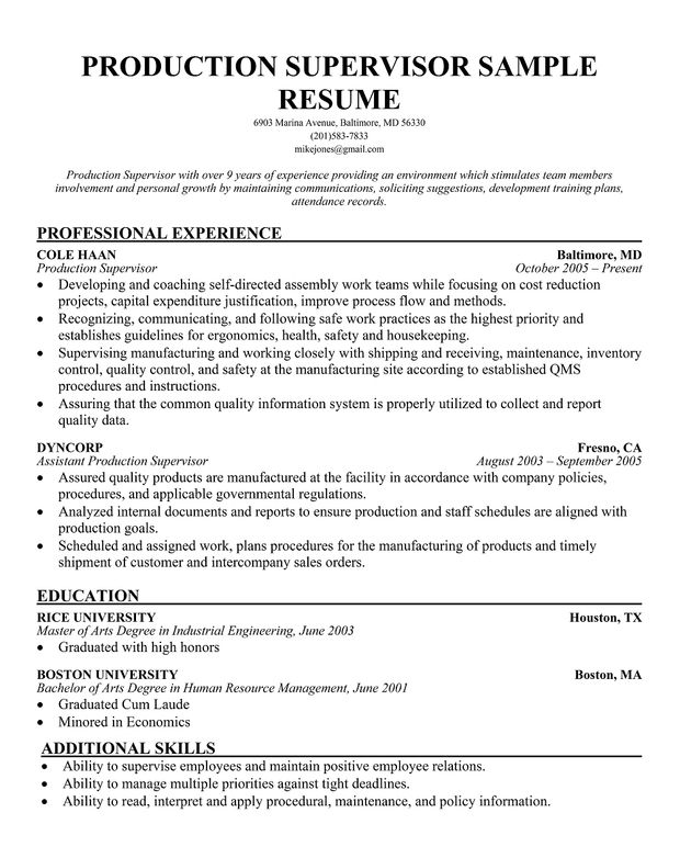 Free Production Supervisor Sample Resume Manager Free Resume Samples Sample Resume Resume Skills