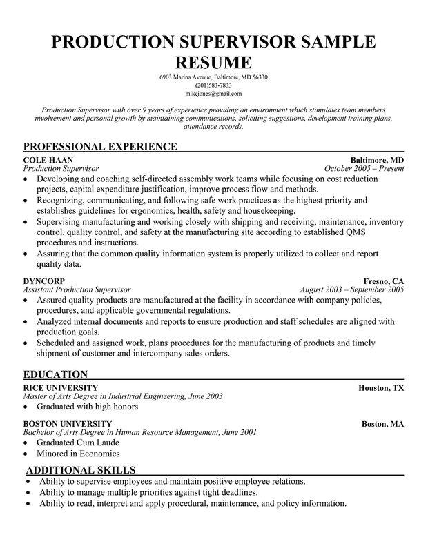 free production supervisor sample resume manager Home Design - manufacturing manager resume