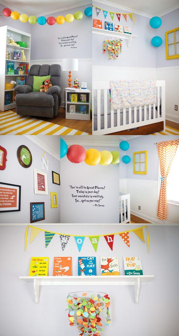 Real rooms dr seuss nursery baby pinterest themed for Rainbow themed baby nursery