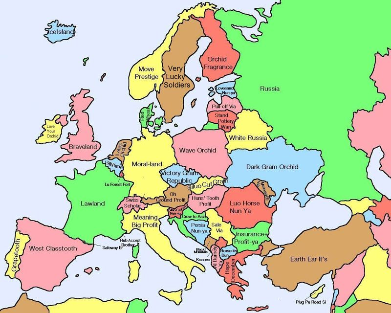 map of europe english names Map of Europe Showing Literal Chinese Translations for Country
