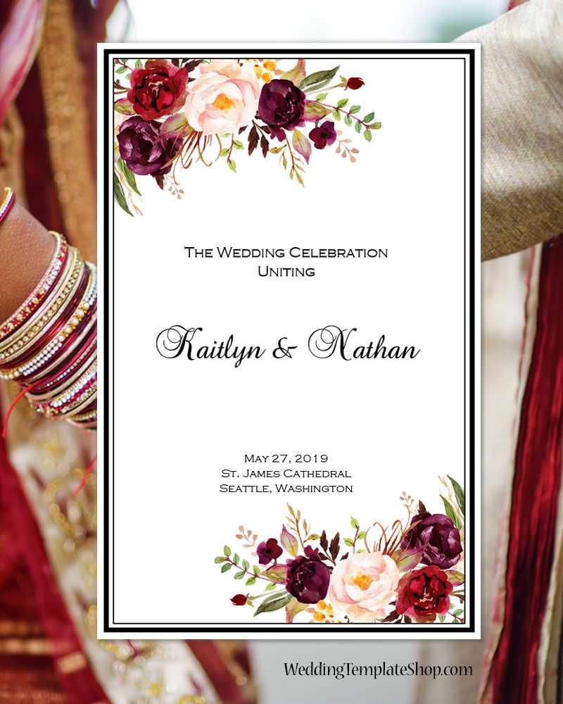 Wedding Program Template Burgundy, Red, Blush Pink, Marsala Romantic ...