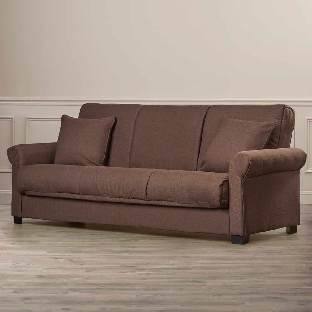Upholstered brown linen sofa convertible sleeper living room furniture sofabed alcotthill modern