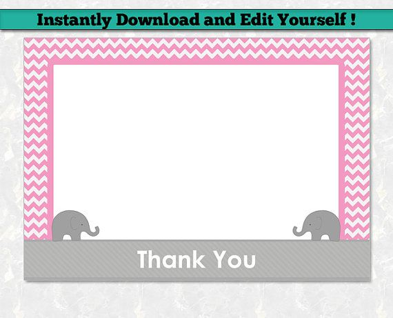 Elephant Thank You Card Template for Girl - Printable Thank You - thank you card template