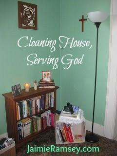 cleaning house, serving God | JaimieRamsey.com  Have you thought that taking care of your home and family is an act of service to the Lord? Your whole life can be filled with serving him--even cleaning your kitchen!