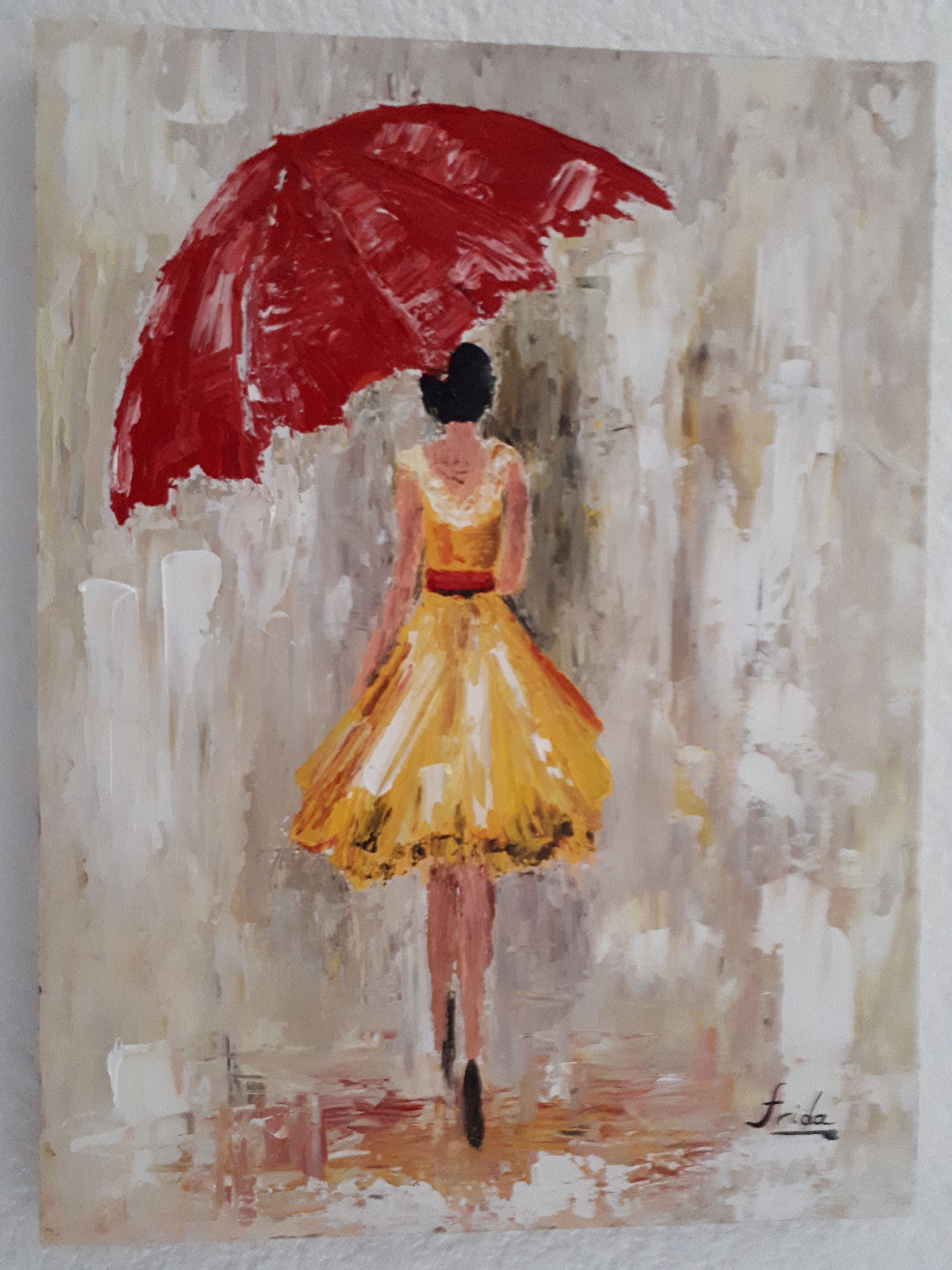 Mujer Bajo La Lluvia óleo Espatulado Paint Mujer Bajo La Lluvia Lluvia Dibujos Dibujo Mujer