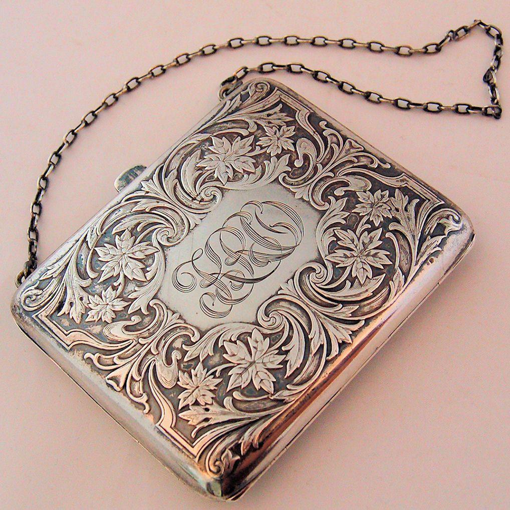Photo of Antique Art Nouveau Sterling Silver Purse R. Blackinton Co. ca. 1910s