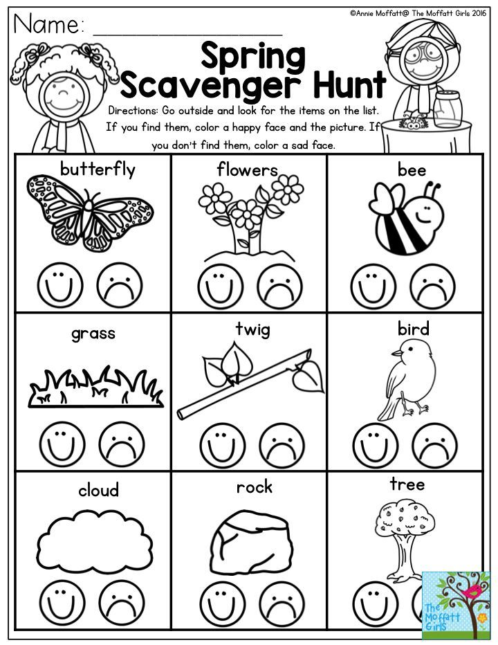 Send your Preschool students on a Spring Scavenger Hunt