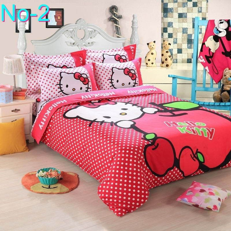 Cotton Bedding Sets Cartoon Hello Kitty 4pcs Bed Set Duvet Cover Bed Sheet Pillowcase Soft And Comfortable King Qu Kids Bedding Sets Kids Comforters Bed Sheets