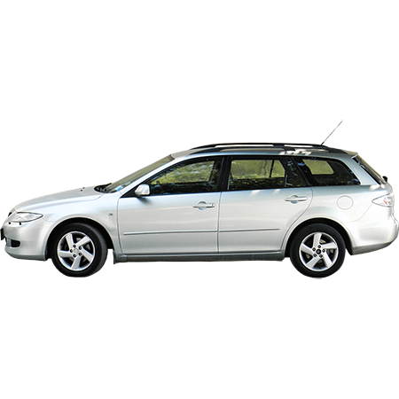 A Bright Silvery Colored Family Vehicle Side Elevation View Family Car Immediate Entourage Vehicles