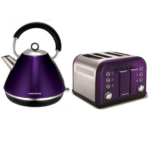 Morphy Richards Kettle And 4 Slice Toaster Accents Plum Purple 102020 242016 Toaster Plum Purple Purple