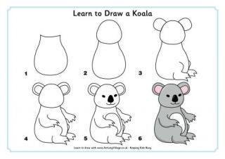 Apprendre dessiner un koala enfant malen lernen - Dessiner un kangourou ...