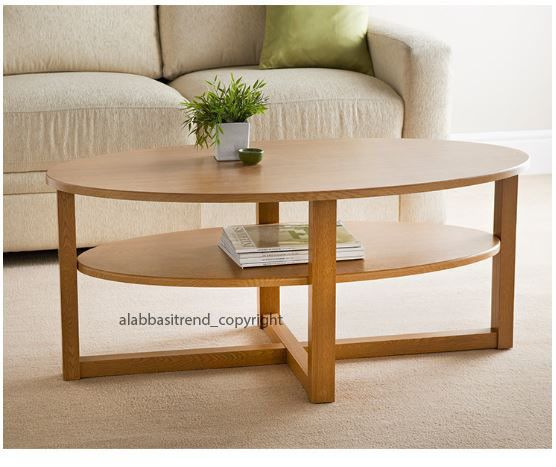 Oak Effect Wooden Mdf Wood Oval Shape Coffee Table With Under