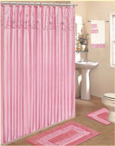 PINK 18 Piece Bathroom Set 2 Rugs Mats 1 Fabric