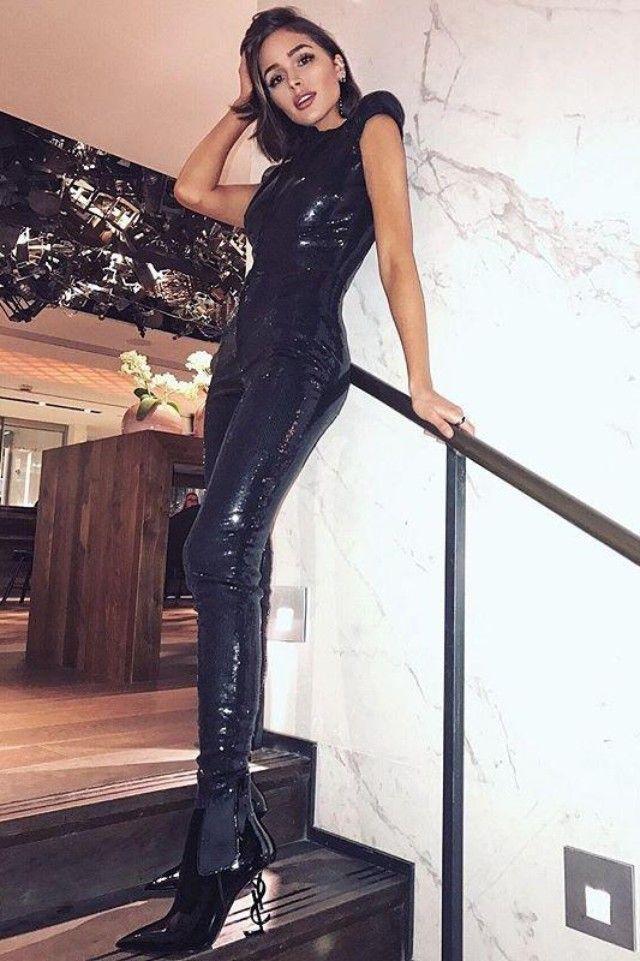 3345d5e88484d9 Olivia Culpo wearing Joanna Laura Constantine Spring 2017 Bodysuit, Saint  Laurent Opyum Booties