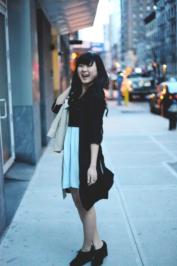 JennifHsieh Outfit | Long Black Jacket, Black Crop Top, Light Baby Blue Dress, Black Wedges, Beige Trench Coat