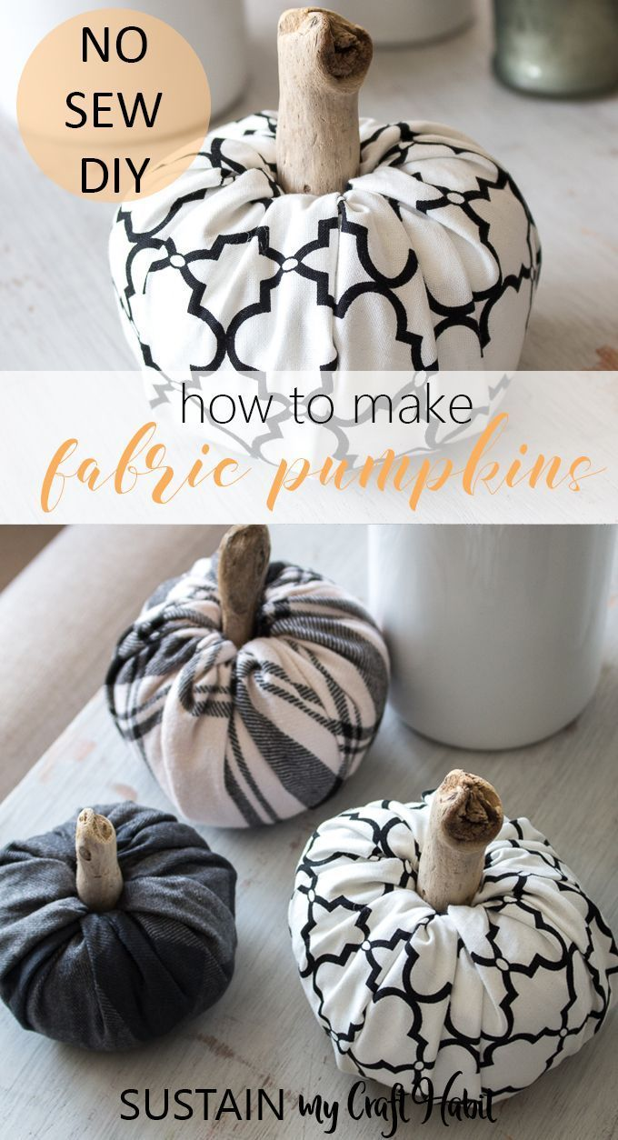 Adorable and easy no-sew fabric pumpkins! #scrapfabric