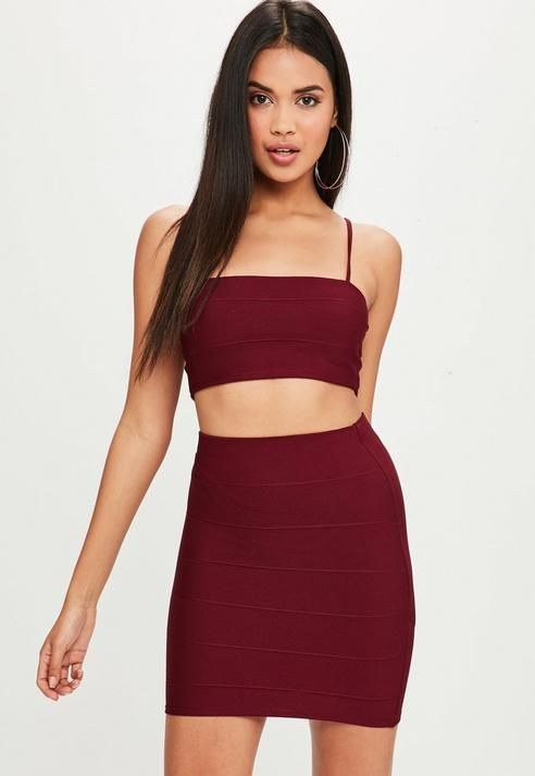 b9c6543014 Missguided Burgundy Co Ord Bandage Top | Products | Ball gown ...
