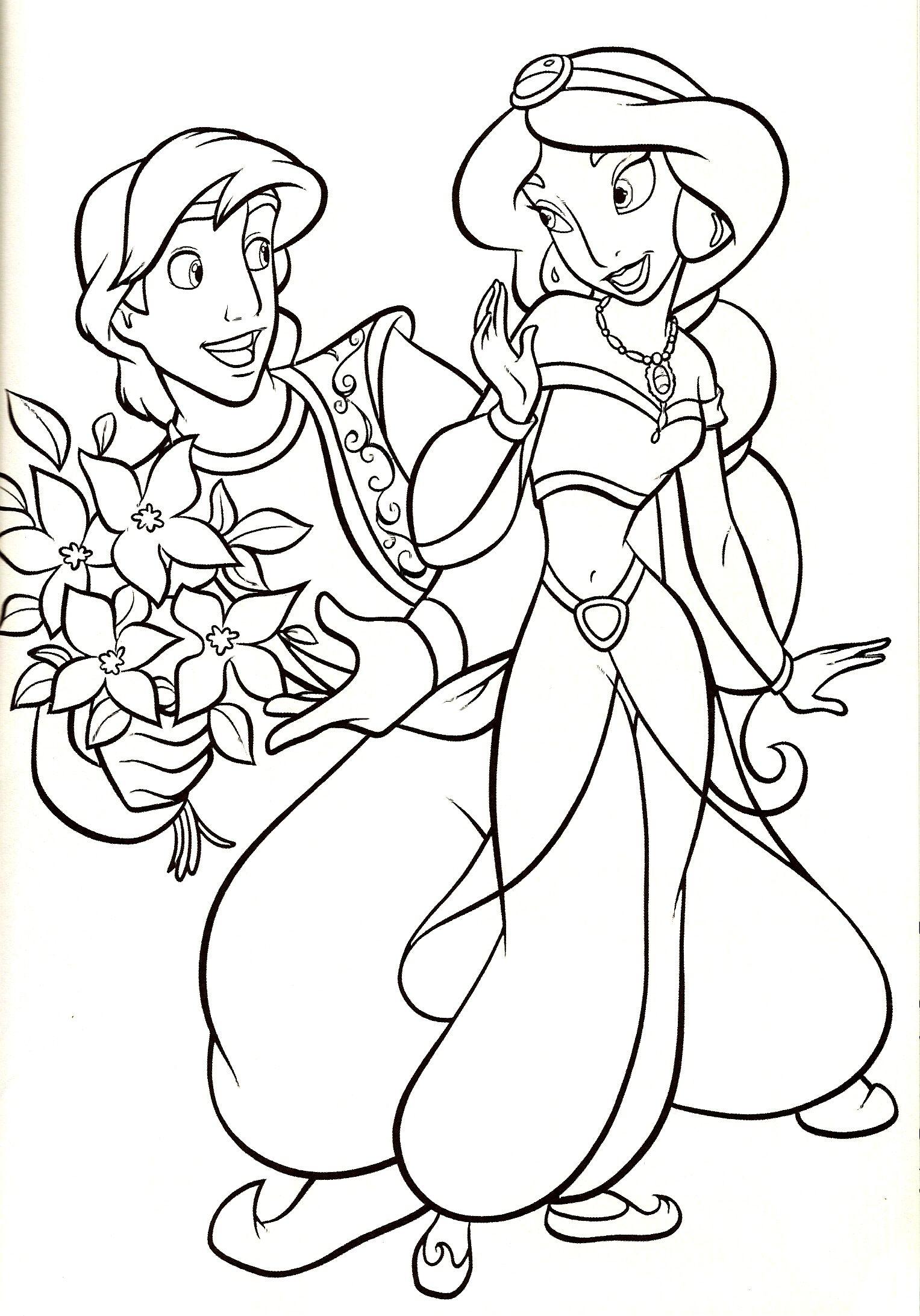 Живопись, раскраски с принцессой жасмин