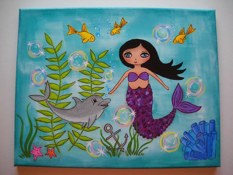 Mermaid Art, Dolphin Art, Painted Canvas, Acrylic Painting, Mixed Media Art,