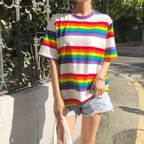 f2e2237aa948 Streetwear Stripes Women T-shirt Casual Summer Half Sleeve Loose Rainbow  Striped T Shirt Top