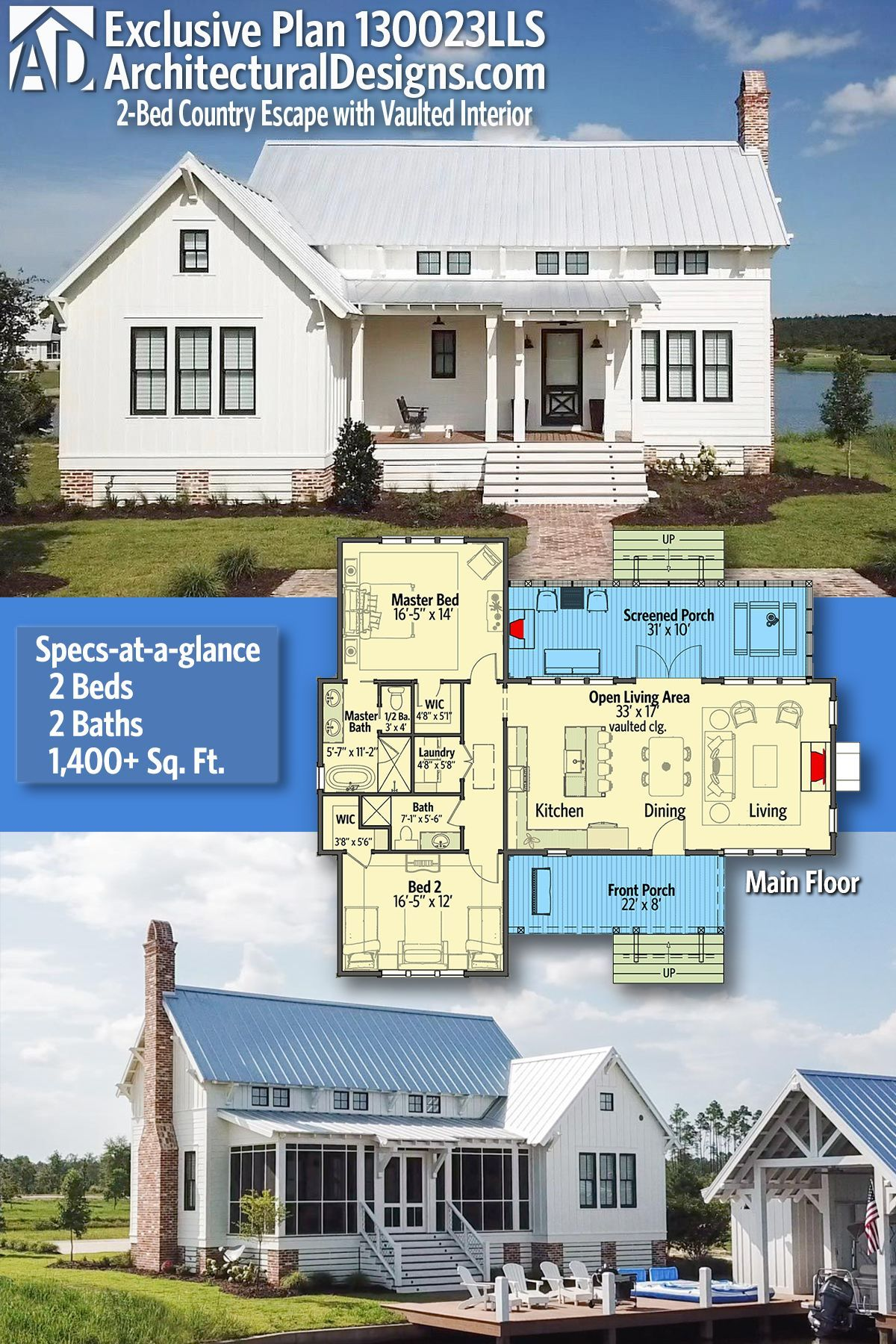 Introducing Architectural Designs Exclusive 2 Bedroom Country Escape Plan 130023lls With 2 Beds 2 Full Baths In With Images Farmhouse Plans House Plans Small House Plans