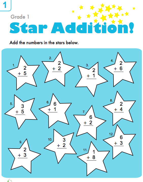 Star Additiion First Grade Math Worksheets 1st Grade Math Worksheets Preschool Worksheets Free Printables