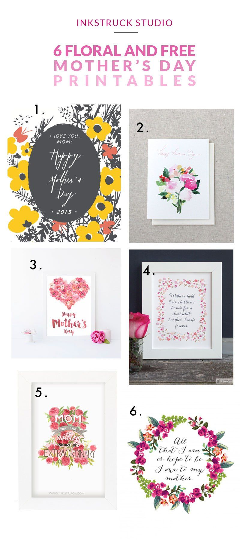 Six floral and free mother's day printables   Inkstruck Studio