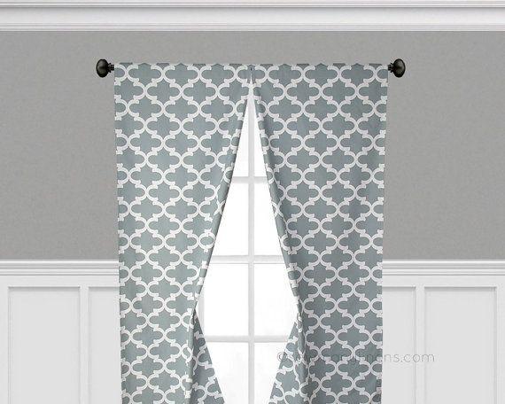 Gray Curtain Panels Quatrefoil Lattice Window Treatments Custom Drapes Grey Valance Drapery Window C Products Girls Bedroom Curtains Coral Curtains Panel
