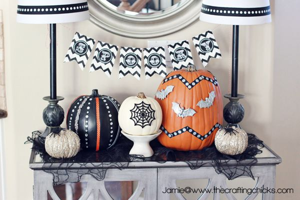 Easy to make by gluing on halloween decorations and ribbons.