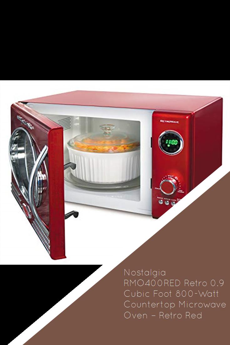 Nostalgia Rmo400red Retro 0 9 Cubic Foot 800 Watt Countertop Microwave Oven Retro Red Countertop Microwave Countertop Microwave Oven Microwave Oven