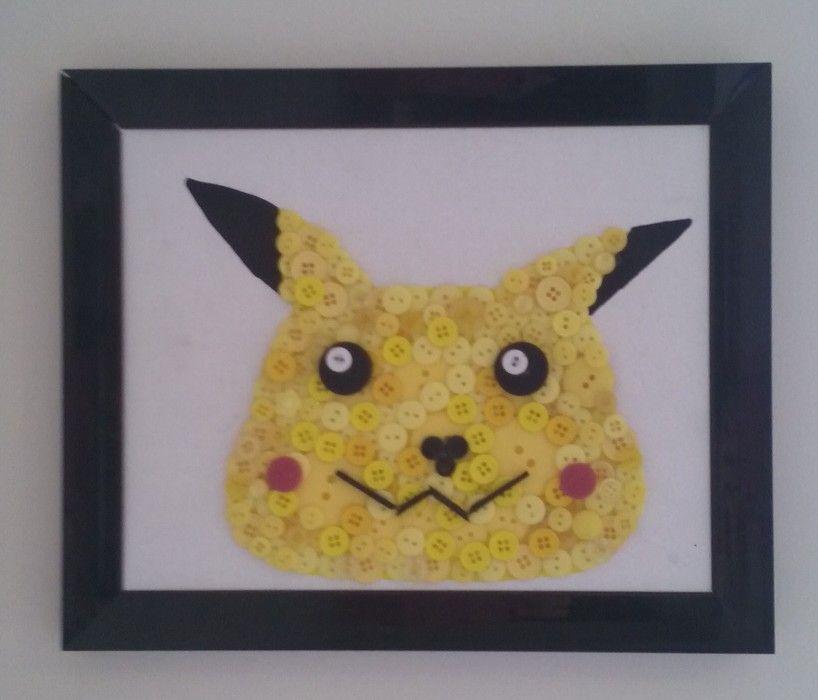 Hand Made Pikachu button wall art on canvas. www.facebook.com ...